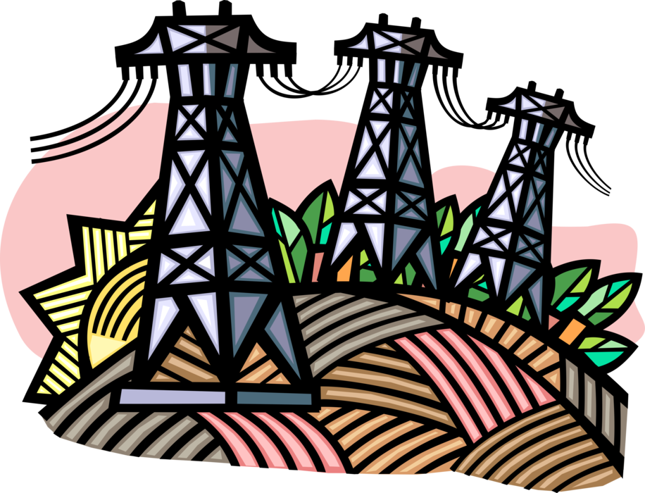 Vector Illustration of Transmission Towers Carry Electrical Power Lines to Distribute Electricity