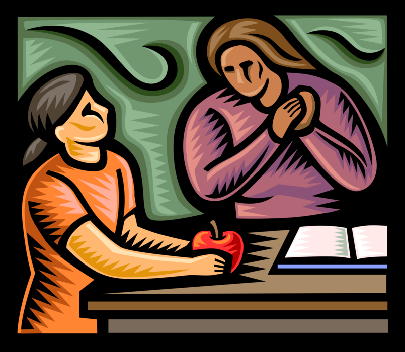 Vector Illustration of Student Gives Teacher an Apple in School Classroom
