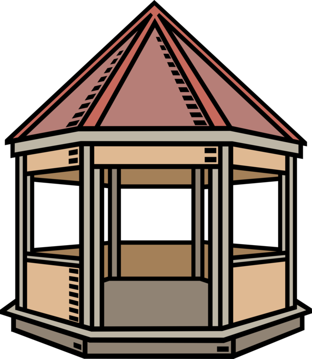 Vector Illustration of Park or Garden Gazebo Pavilion Structure