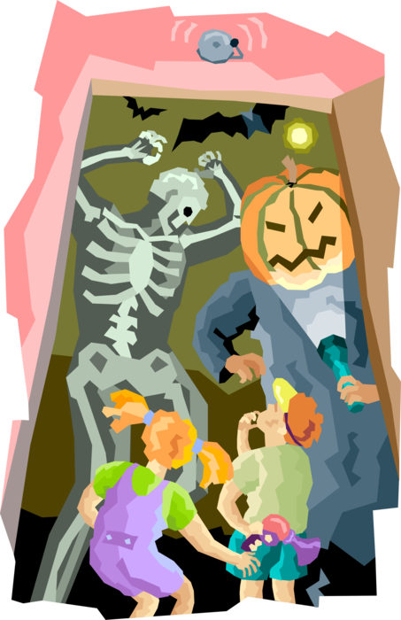 Vector Illustration of Amusement Park Haunted House with Halloween Pumpkin and Skeleton