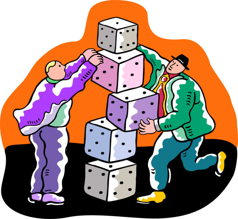 Vector Illustration of Businessmen Stacking Casino Gambling Games of Chance Dice
