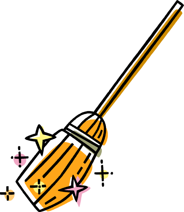 Vector Illustration of Halloween Sorceress Witch's Broom