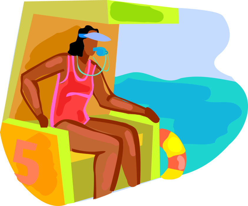 Vector Illustration of Lifeguard Keeps Watch on Beach Swimmers with Whistle and Life Preserver