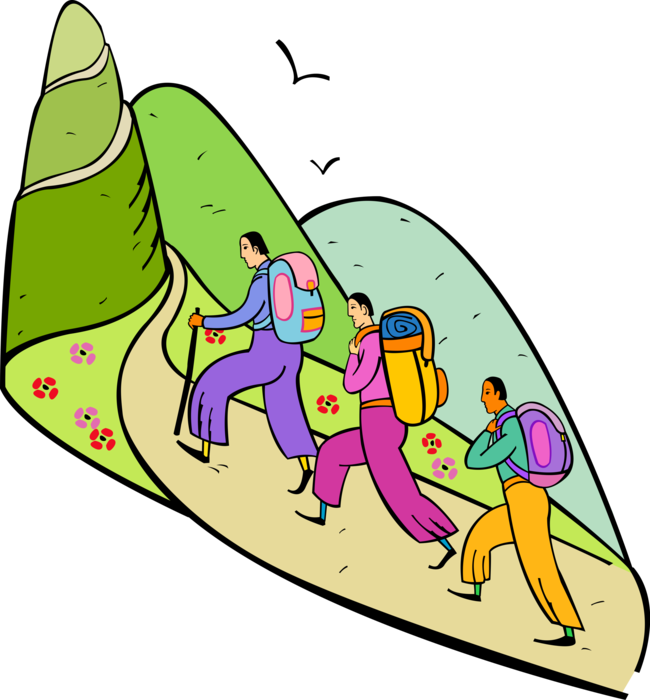 Vector Illustration of Hikers with Backpacks Hiking Up Mountain Outdoor Wilderness
