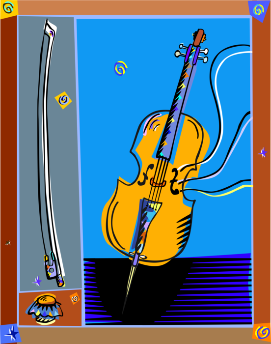Vector Illustration of Classical Music Violin Stringed Musical Instrument