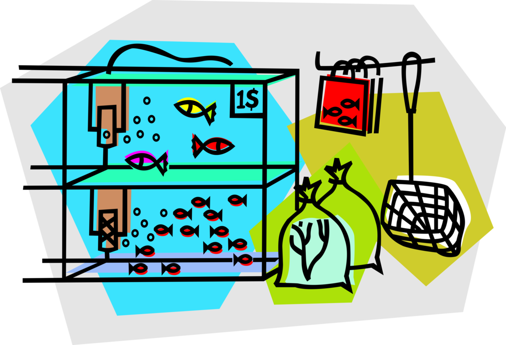 Vector Illustration of Retail Pet Store with Aquarium Fish Tanks and Tropical Fish
