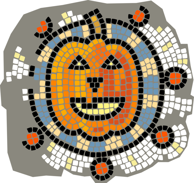 Vector Illustration of Decorative Mosaic Halloween Pumpkin Carved Jack-o'-Lantern