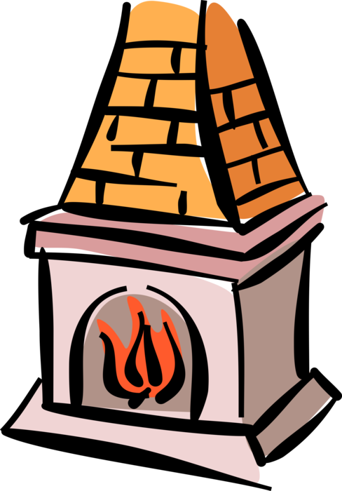 Vector Illustration of Fireplace Hearth with Burning Wood Fire