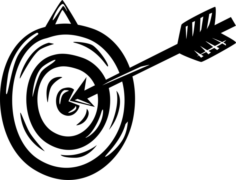 Vector Illustration of Archery Marksmanship Bullseye or Bull's-Eye Target Objective with Arrow