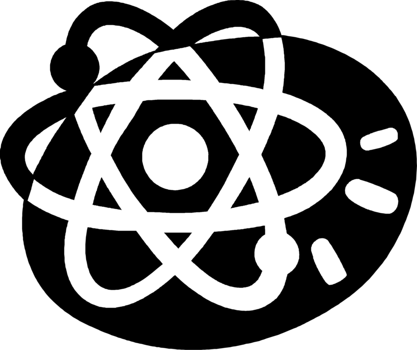 Vector Illustration of Energy Atoms Circling Nucleus Symbol
