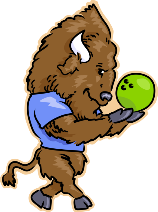 Vector Illustration of North American Wood Bison Buffalo Bowling with Bowling Ball
