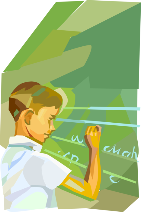 Vector Illustration of Student in School Classroom Writes on Blackboard Chalkboard