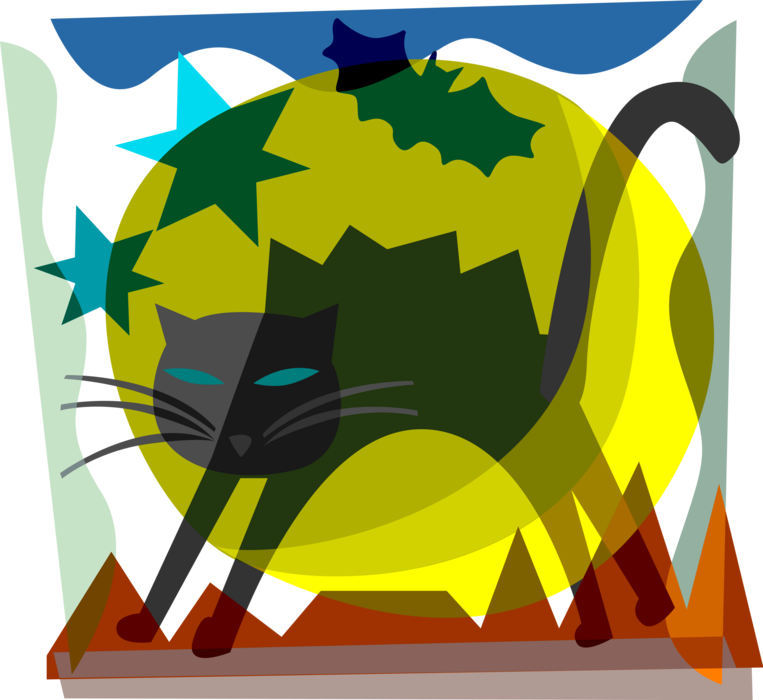 Vector Illustration of Halloween Black Cat Associated with Witchcraft, Ill Omens, and Death with Bats and Full Moon