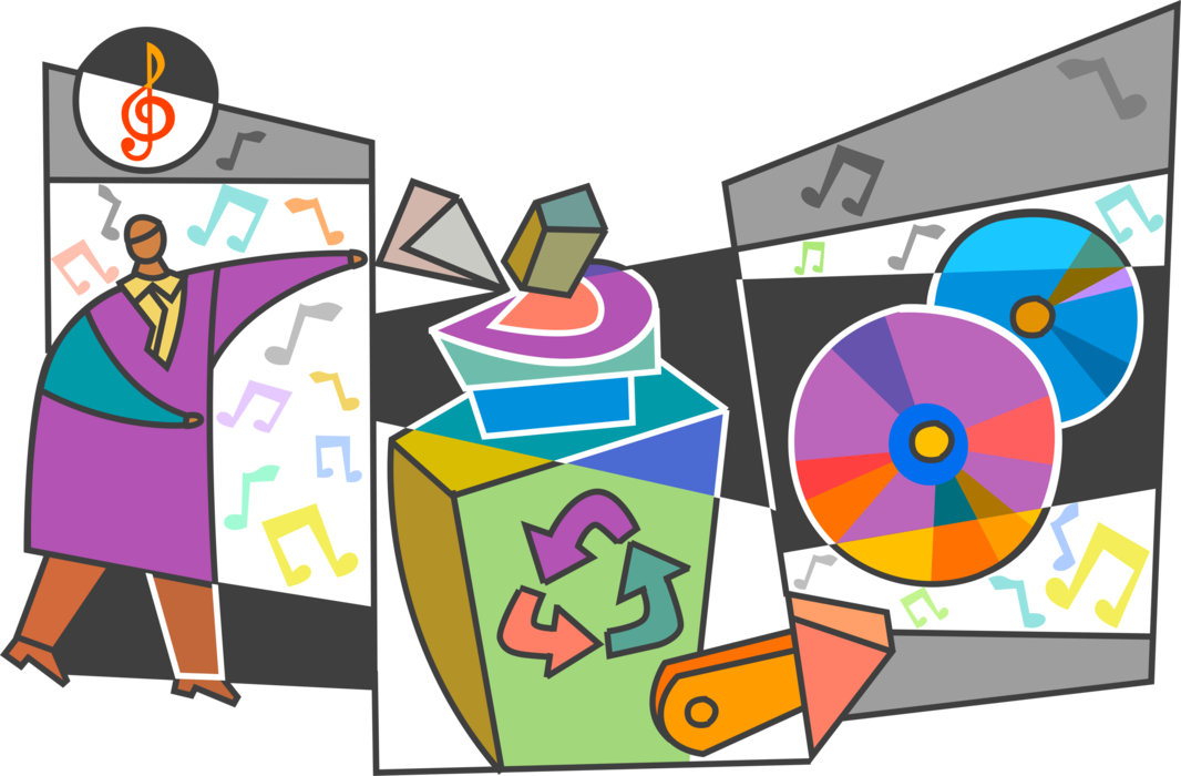 Vector Illustration of Music Industry Recycles Old Vinyl Record Hits on Music CDs Creating New Sales Opportunities
