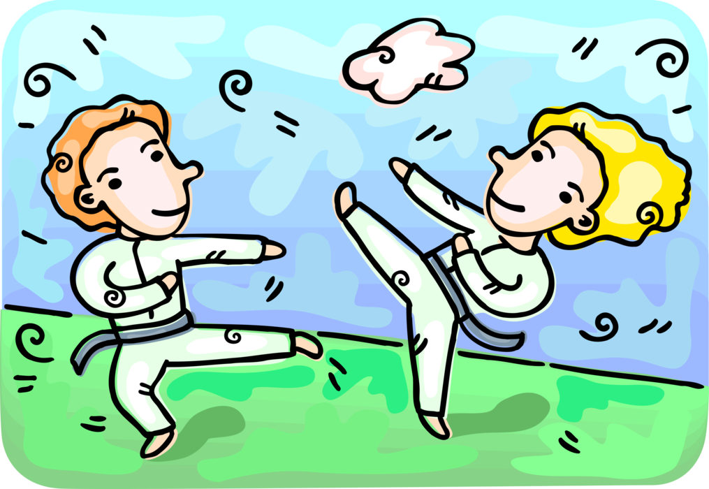 Vector Illustration of Self-Defense Martial Artists Practicing Moves