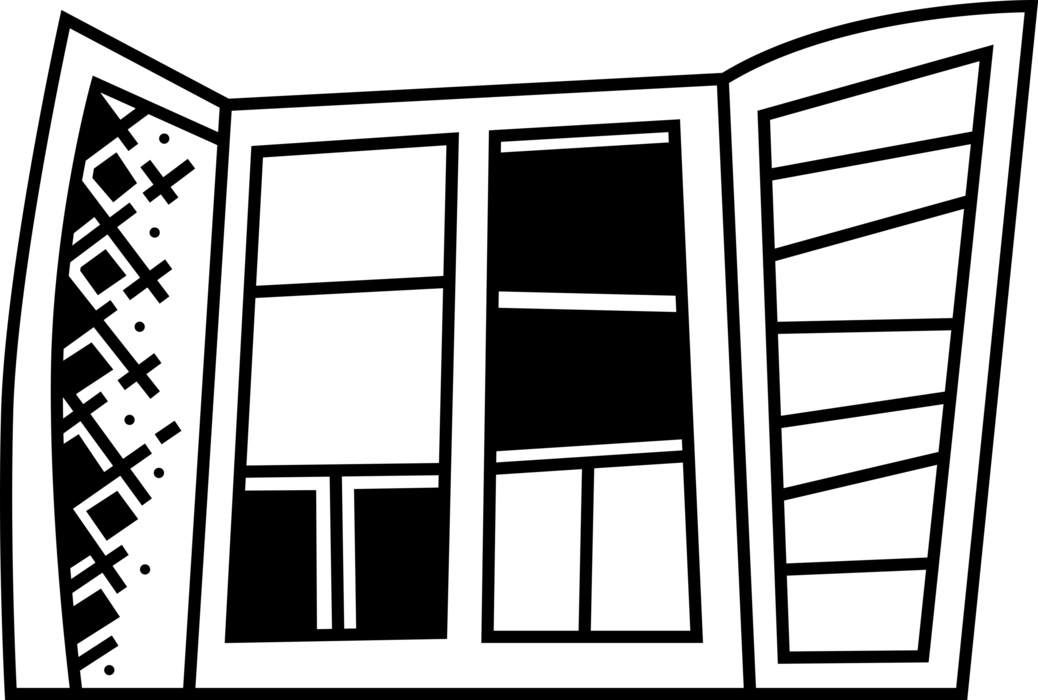 Vector Illustration of Window Opening in Wall Allows Passage of Light