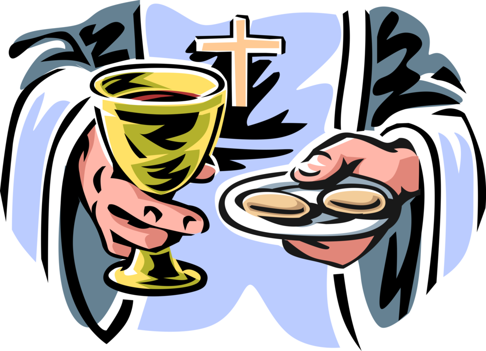 Vector Illustration of Christian Religion Catholic Priest Serves Communion Wine and Hosts During Mass Religious Service