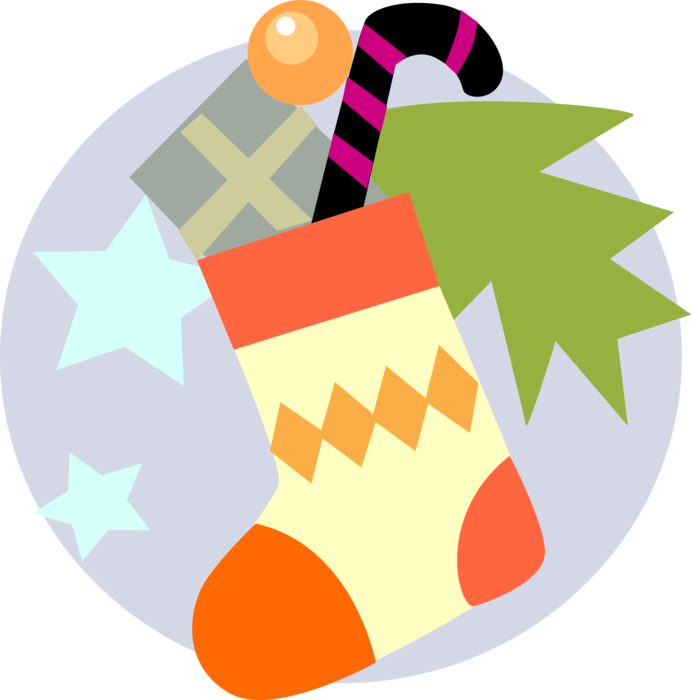 Vector Illustration of Festive Season Christmas Stocking with Candy Cane Peppermint Stick