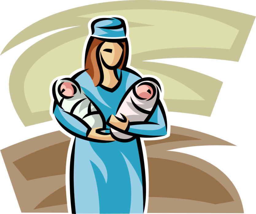 Vector Illustration of Health Care Nurse with Two Newborn Babies in Hospital Maternity Ward