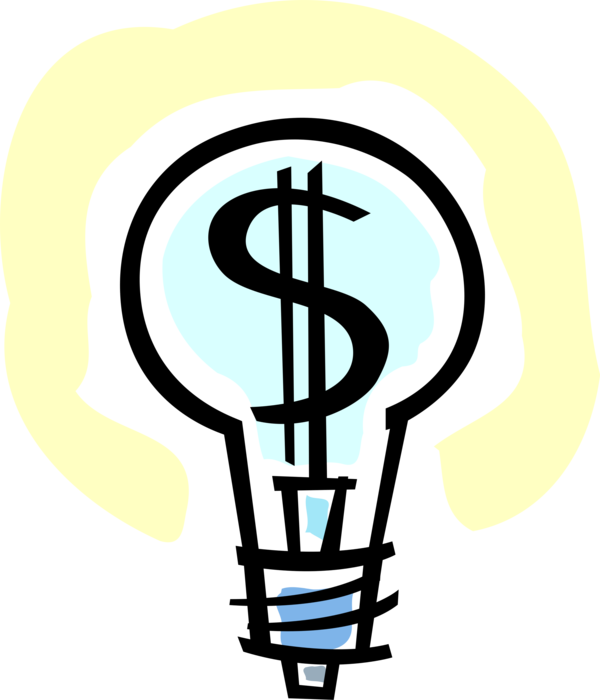 Vector Illustration of Financial Concept Electric Light Bulb with Cash Money Dollar Sign