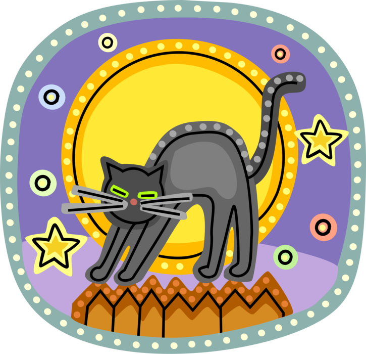 Vector Illustration of Halloween Black Cat Associated with Witchcraft, Ill Omens, and Death on Fence with Full Moon