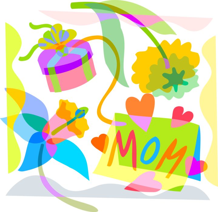 Vector Illustration of Mother's Day Greeting Card with Gift Wrapped Present and Spring Flowers