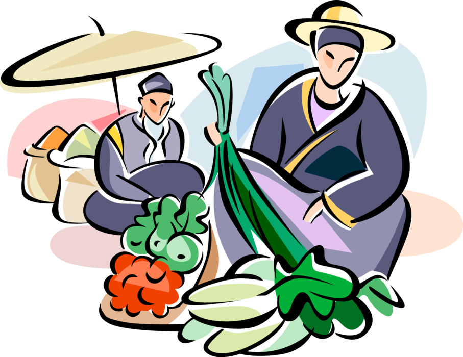 Vector Illustration of Chinese Cuisine Fresh Food and Vegetable Outdoor Market Vendors