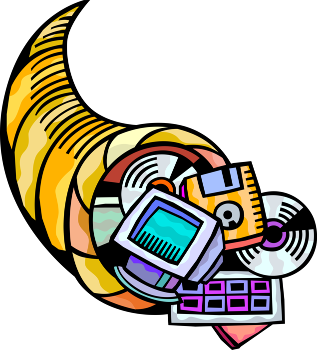Vector Illustration of Cornucopia Horn of Plenty with Diskettes, CD's, and Computer Monitor Electronic Equipment