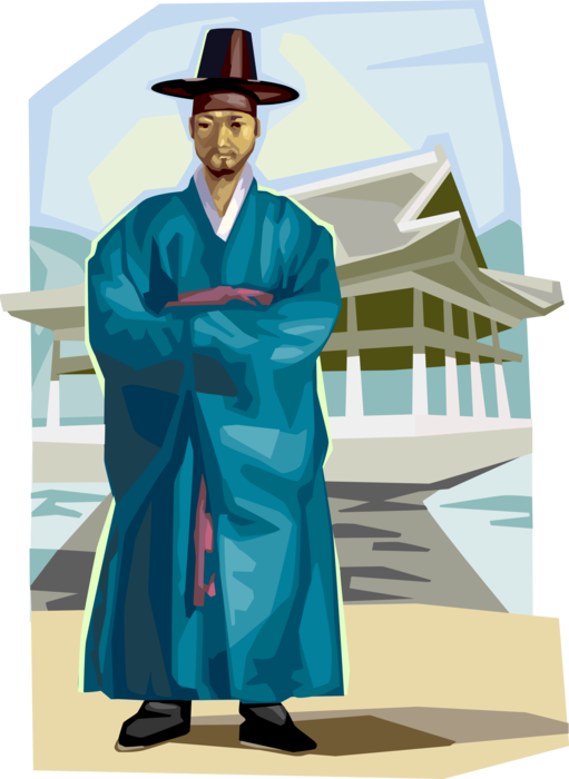 Vector Illustration of Traditional South Korean Clothing for Official of Choson Dynasty