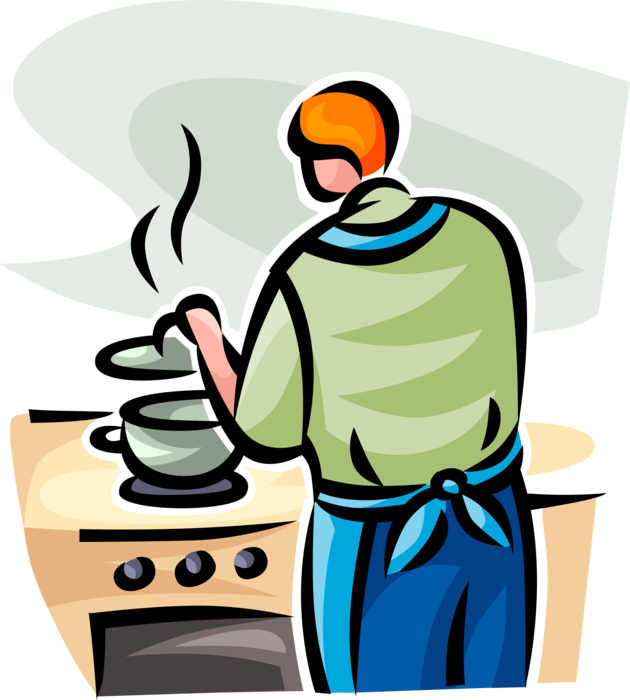 Vector Illustration of Culinary Cuisine Restaurant Chef Cooking with Pot on Stove in Kitchen