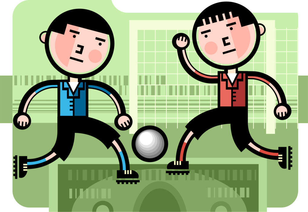 Vector Illustration of Businessmen Competitive Soccer Football Players Kick Ball on Financial Pitch Field During Game
