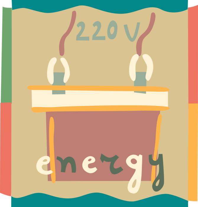 Vector Illustration of 220 Volt Electricity Energy Battery