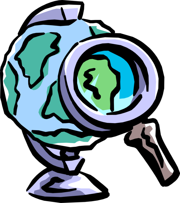 Vector Illustration of Close Examination of World Globe Under Magnification with Magnifying Glass