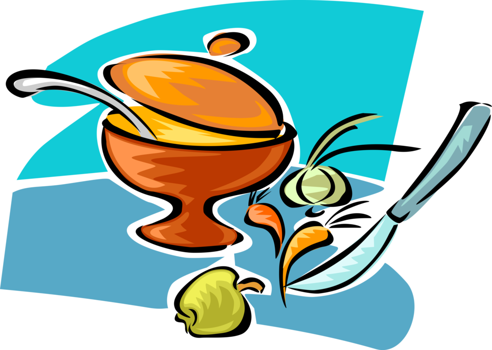 Vector Illustration of Kitchen Kitchenware Cooking Pot Saucepan with Fresh Vegetable Ingredients