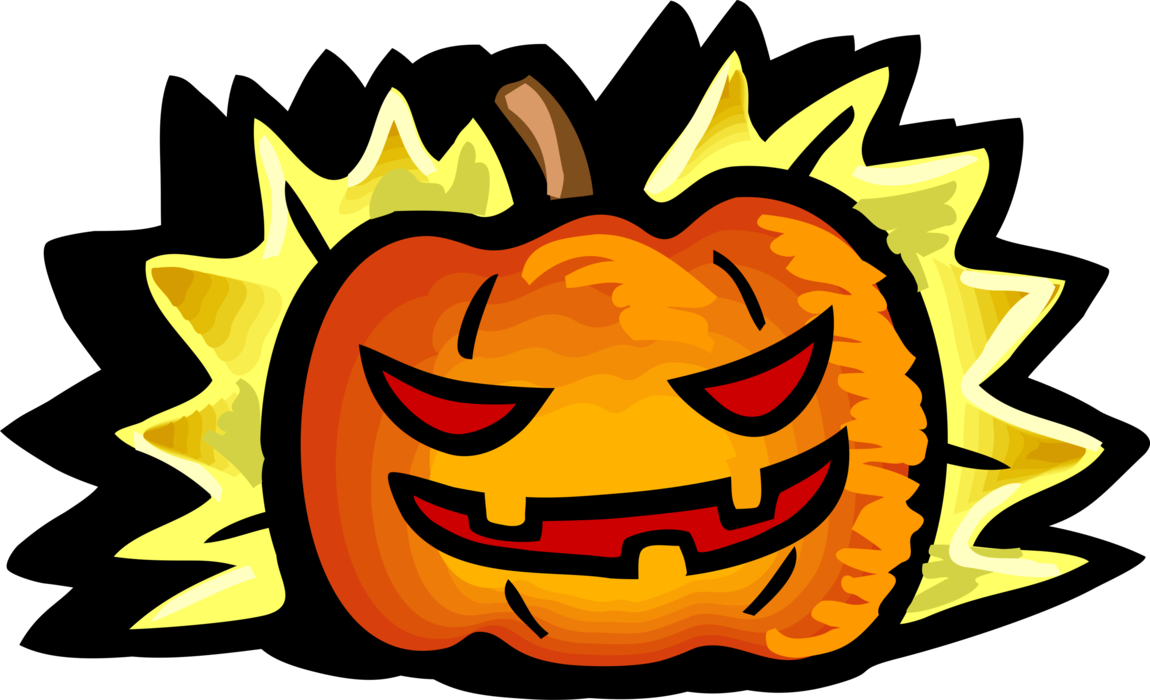 Vector Illustration of Halloween Scary Jack-o'-Lantern Carved Pumpkin