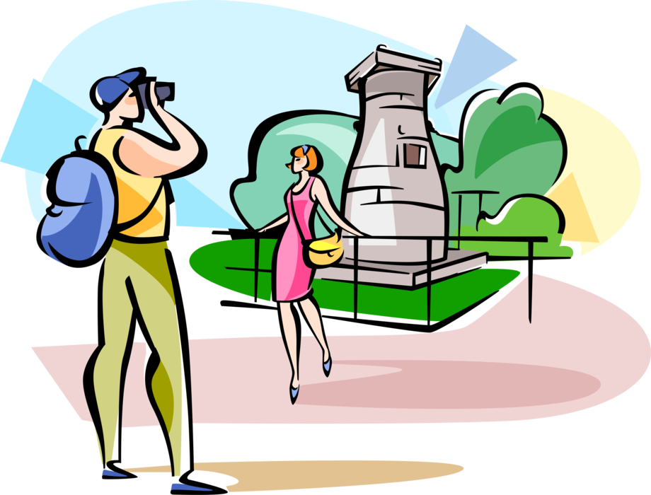Vector Illustration of Tourists Visit Cheomseongdae Astronomical Observatory, Gyeongju, South Korea