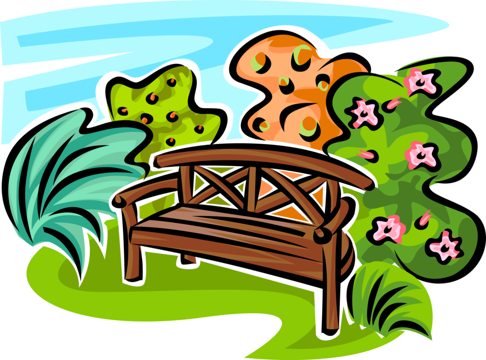 Vector Illustration of Garden Bench with Flowering Plants