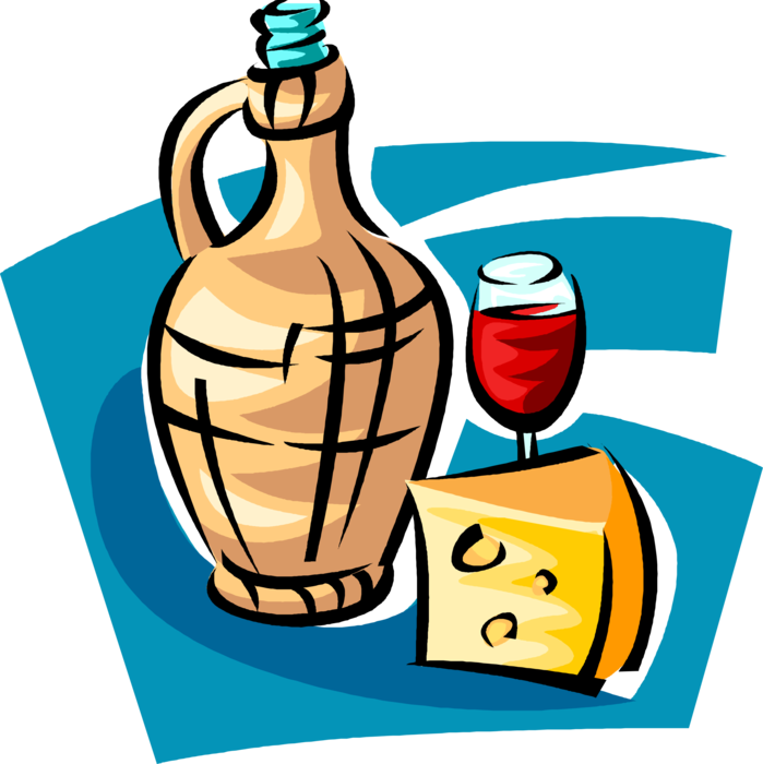 Vector Illustration of Bottle of Red Wine and Dairy Cheese