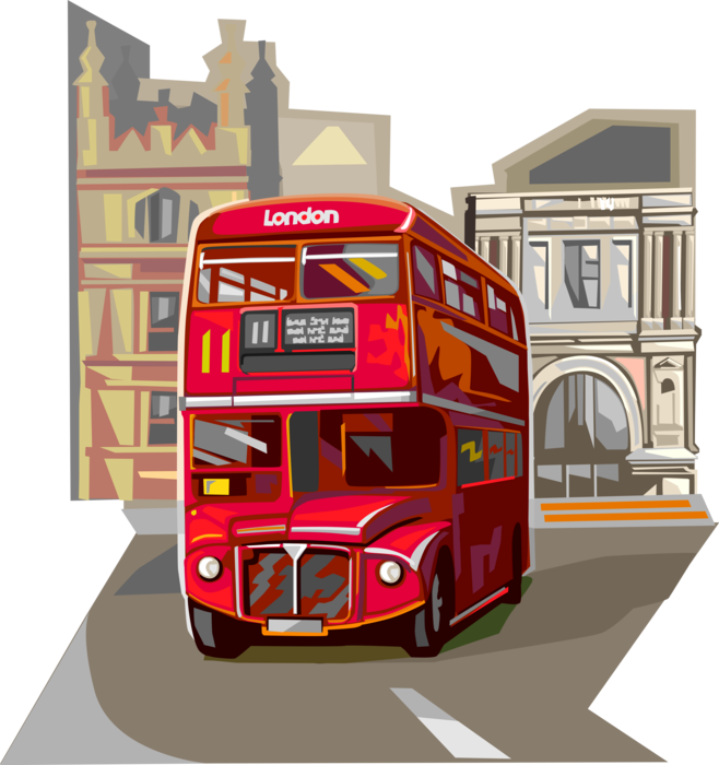 Vector Illustration of Double-Decker Public Transport Passenger Bus used in United Kingdom