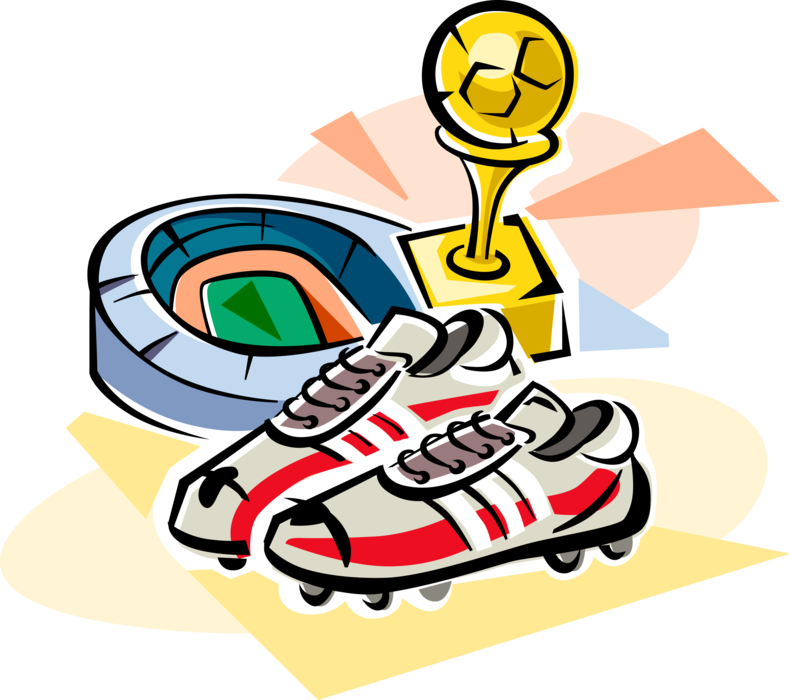 Vector Illustration of Sport of Soccer Football Stadium, Cleats Shoe and Winner's Trophy Award