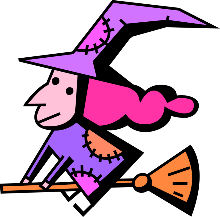 Vector Illustration of Halloween Sorceress Witch Rides Broomstick Broom