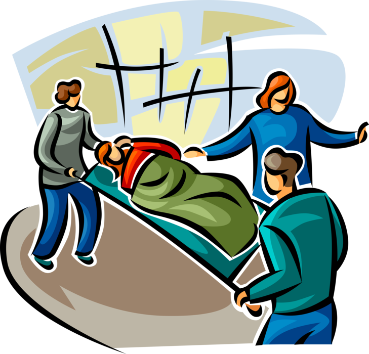 Vector Illustration of Emergency Rescue and Relief Services Workers with Accident Victim on Hospital Stretcher