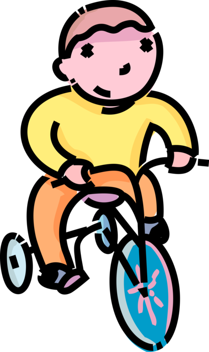 Vector Illustration of Primary or Elementary School Student Boy Rides Tricycle Bike