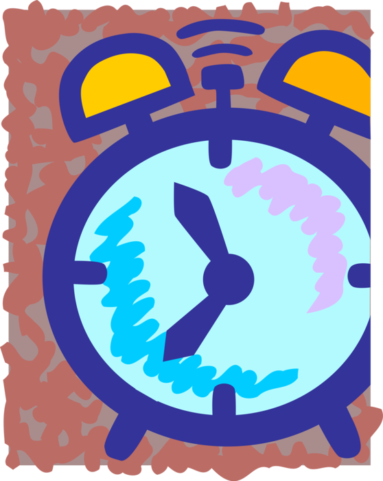Vector Illustration of Alarm Clock Ringing Its Morning Wake-Up Call
