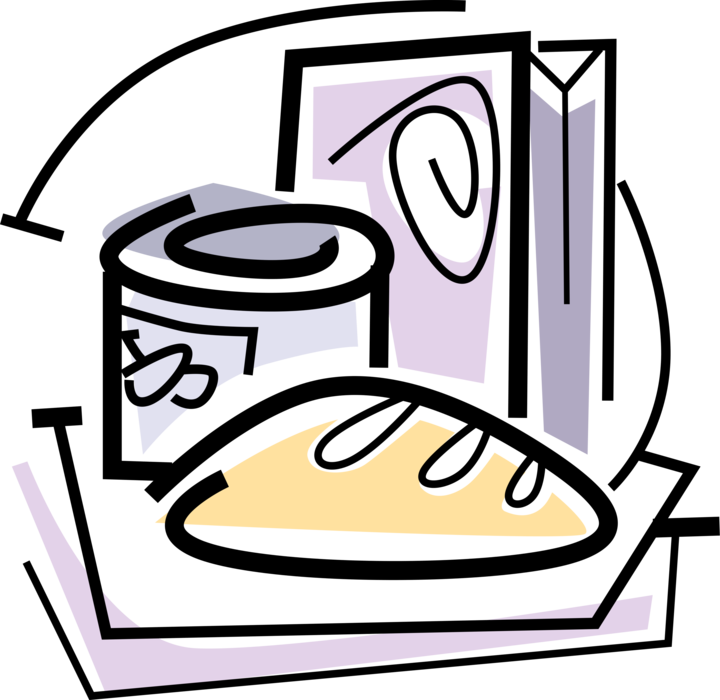Vector Illustration of Fresh Baked Bread with Canned Food Goods and Cereal Box