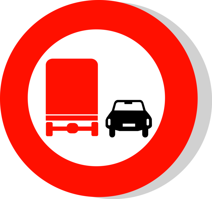 Vector Illustration of European Union EU Traffic Highway Road Sign, No Overtaking for Lorries