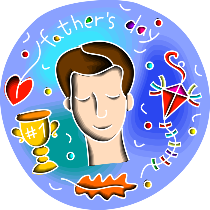 Vector Illustration of Father's Day Celebration with Number One Dad