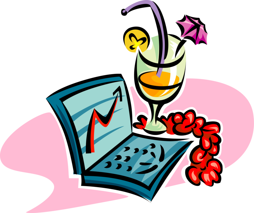 Vector Illustration of Celebrating Business Success with Laptop Computer and Exotic Beverage Cocktail