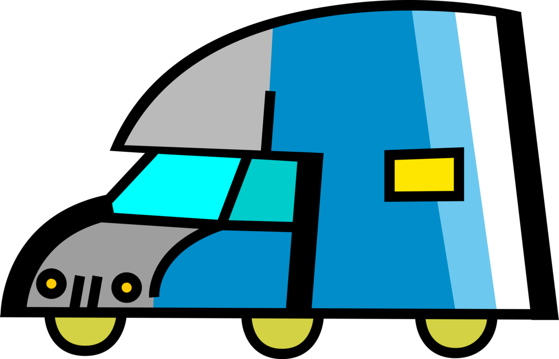 Vector Illustration of Shipping and Distribution Transport Delivery Truck Vehicle