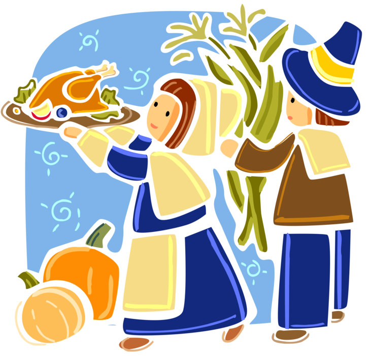 Vector Illustration of Mayflower Pilgrim Pioneers Celebrate First Thanksgiving with Harvest and Traditional Roast Turkey Dinner